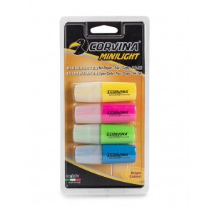Blíster 4  evidenciador fluorescente corvina mini light carioca
